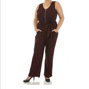 Zipper Neckline With Fabric Belt Jumpsuit